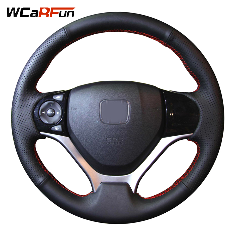 WCaRFun Black Artificial Leather Car Steering Wheel Cover for Honda Civic Civic 9 2012 2013 2014 2015 2pcs car red black white rearview mirrors for honda civic 2012 2013 2014 accessories