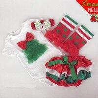 2015 새로운 아기 아이 크리스마스 4 개 세트 첫 생일 newborm 크리스마스 트리 Onesies 세트 바디 슈트 머리띠 다리 따뜻한 PP 바지 세트