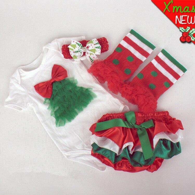 2015 New Baby kids Christmas 4 Piece Set First Birthday newborm Xmas Tree Onesies Sets Bodysuit Headband Leg Warmer PP pants set женские толстовки и кофты new brand 2015 ballinciaga 2 piece 8718