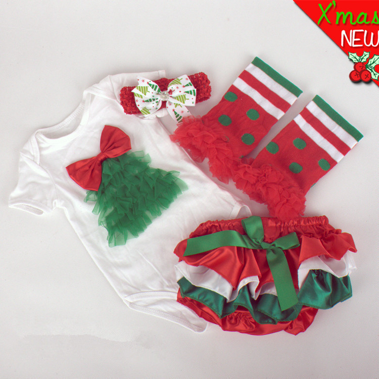 2015 New Baby kids Christmas 4 Piece Set First Birthday newborm Xmas Tree Onesies Sets Bodysuit Headband Leg Warmer PP pants set