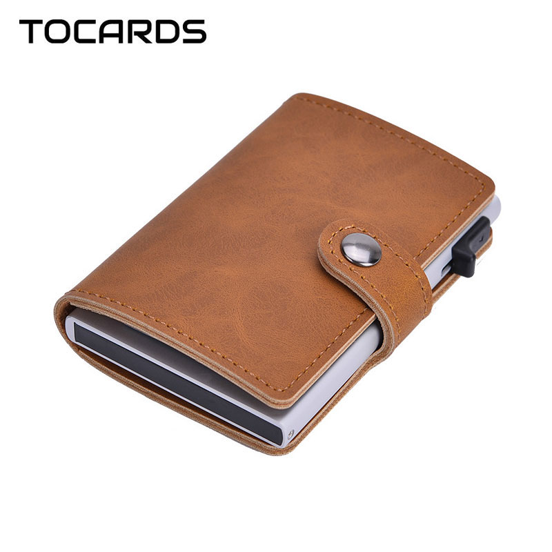 RFID Blocking Vintage Men Credit Card Holder Aluminum Alloy Business ID Card Case Automatic Male Metal Leather Cardholder Wallet