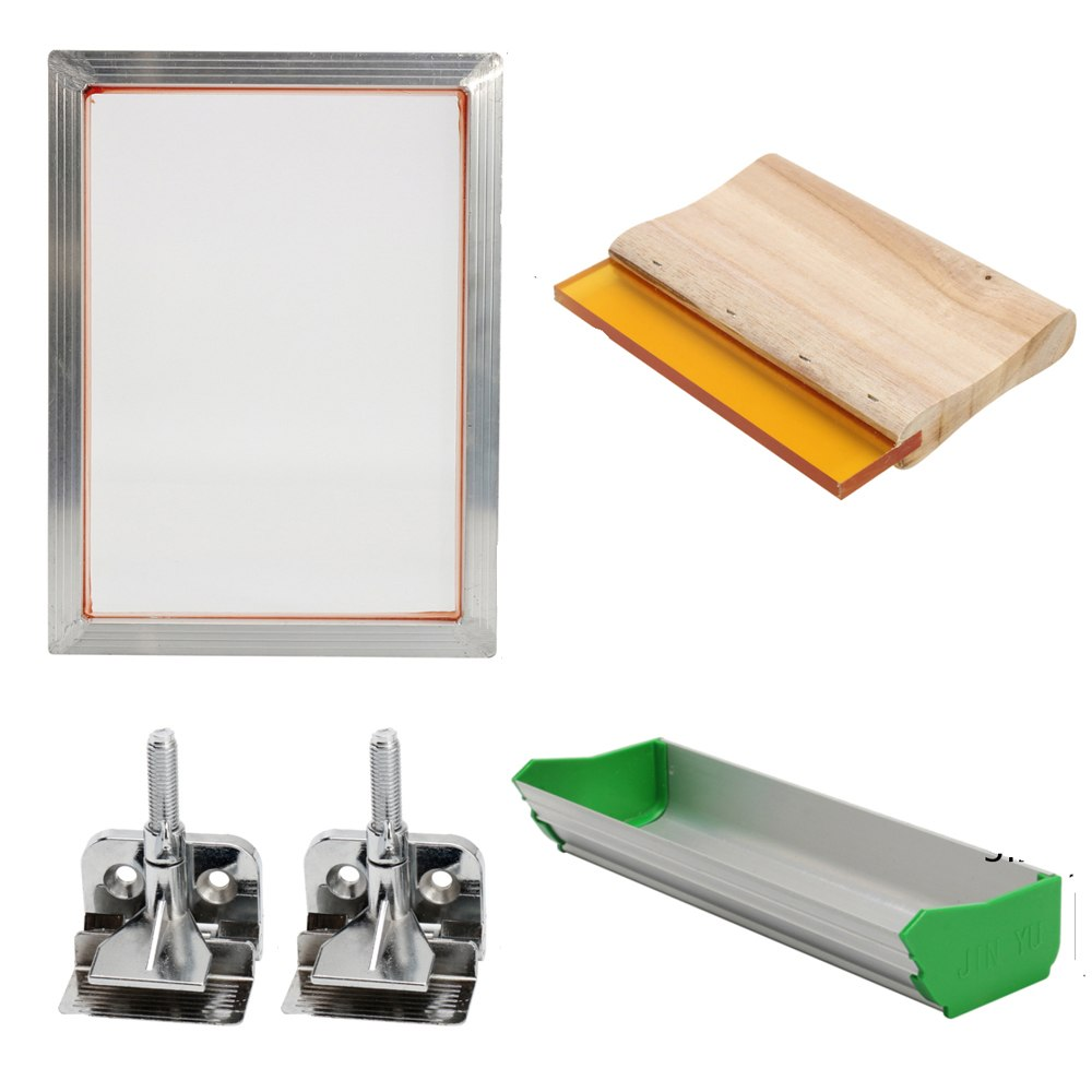 Screen Printing Kit Aluminum Frame + Hinge Clamp + Emulsion Coater + Squeegee