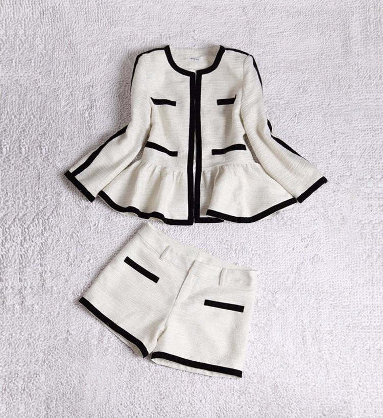 High-end Black White Patchwork Ruffle Decoration Blazer and Short Pants Women Suits Autumn 2015 (6)