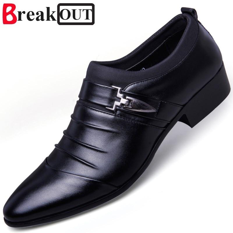 Break Out New Men Oxfords for Men Dress Shoes Business Leather Breathable Lace Up Men Shoes 3 Colors