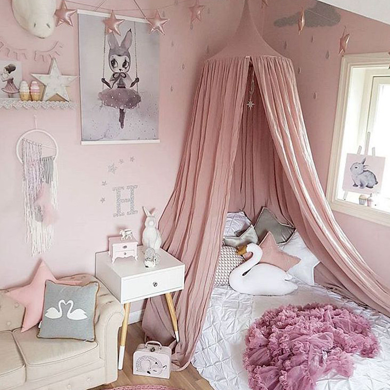 White Grey Pink Beige Boys Girls Kids Princess Canopy Bed Valance Room Decoration Baby