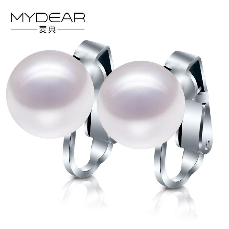 Mydear 2016 новые Для женщин Клипсы, 100% натуральная 10 10.5 мм пресноводного жемчуга Серьги, большой Белый полированной жемчуг ювелирные изделия