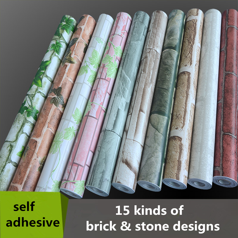 0.45*10m PVC Self Adhesive Wallpaper Roll do not need glue wall paper 3d brick stone decorative ...