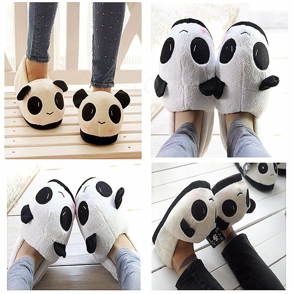 THINKTHENDO Women Ladies Panda Winter Warm Soft Plush Antiskid Cute Indoor Home Slippers
