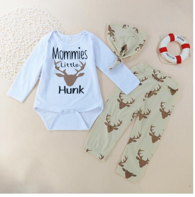 Boys Casual suits 2017 Autumn Printed Rompers+Pant+hat Outfits Infant Pyjama Suit 3PCS Sets CHildrens Clothing Homewear 0-5Y