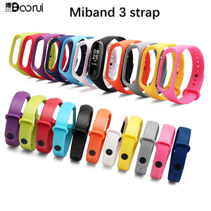 Image 2 - BOORUI Pulsera Colorful Miband 3 Strap correa Silicone Miband 3 band replacement accessories wrist strap for xiaomi mi3 bracelet