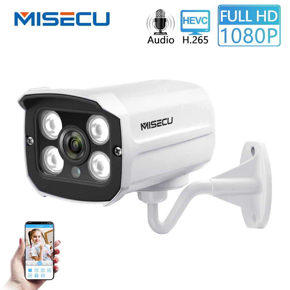 MISECU H.265 Audio Camera Sound Record DC 12V 48V POE Waterproof Metal 2.0MP Full HD Motion Detect RTSP FTP Onvif Night Vision(China)