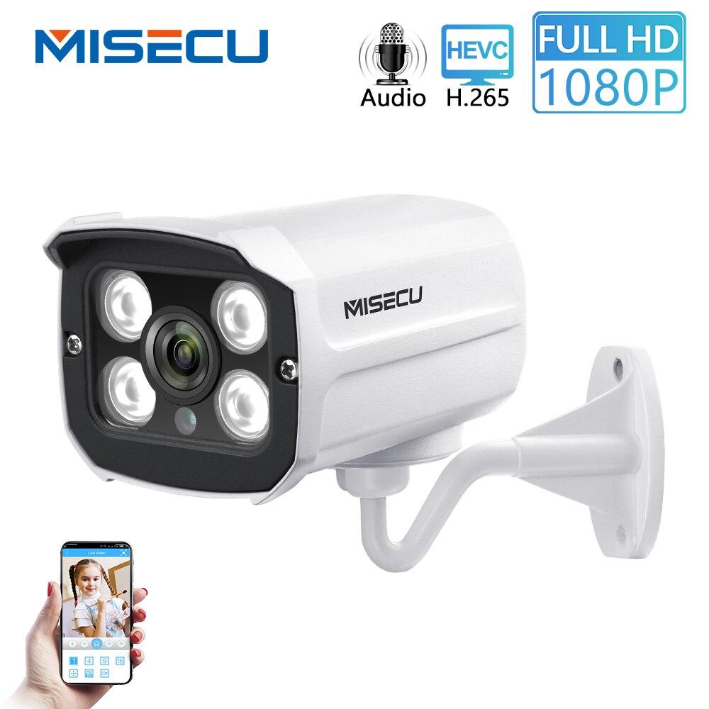 MISECU H.265 enregistrement sonore de la caméra Audio DC 12V 48V POE étanche métal 2.0MP Full HD détection de mouvement RTSP FTP Onvif vision nocturne