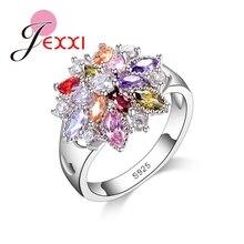 JEXXI Women Flash Colorized Crystal Jewelry Trendy 925 Sterling Silver CZ   Flower Shape Finger Rings Wholesale Hot Sale