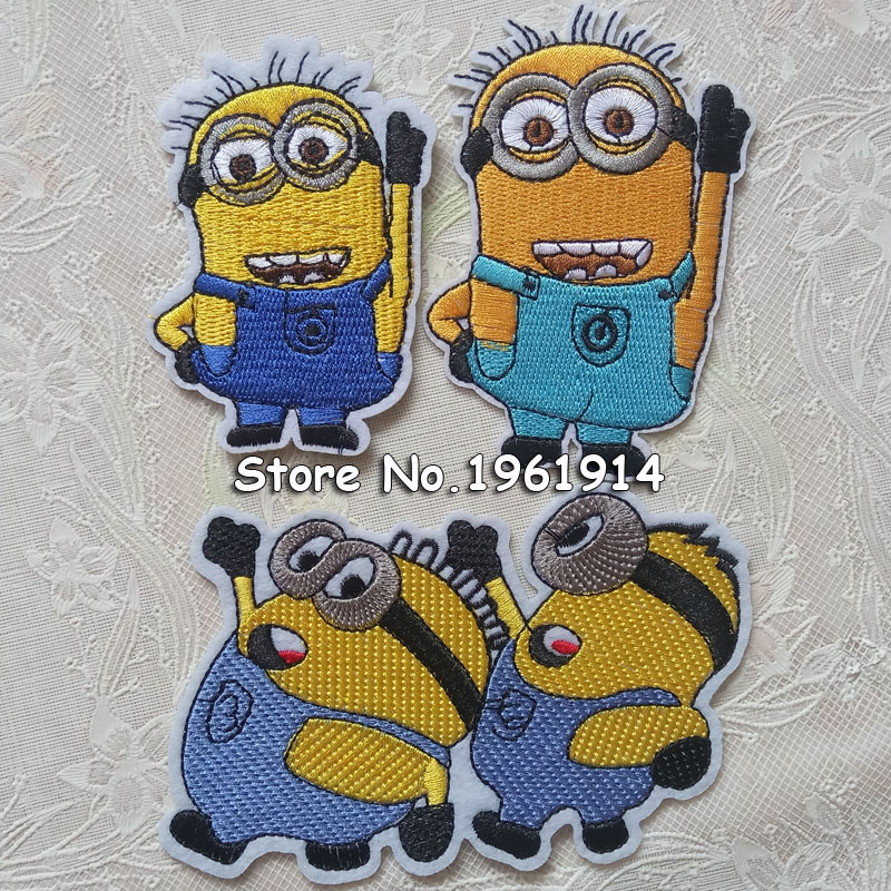 1 Pc Minions Fabric Patch Applique Child Sweater Minion Clothes Down Coat Denim Embroide ...