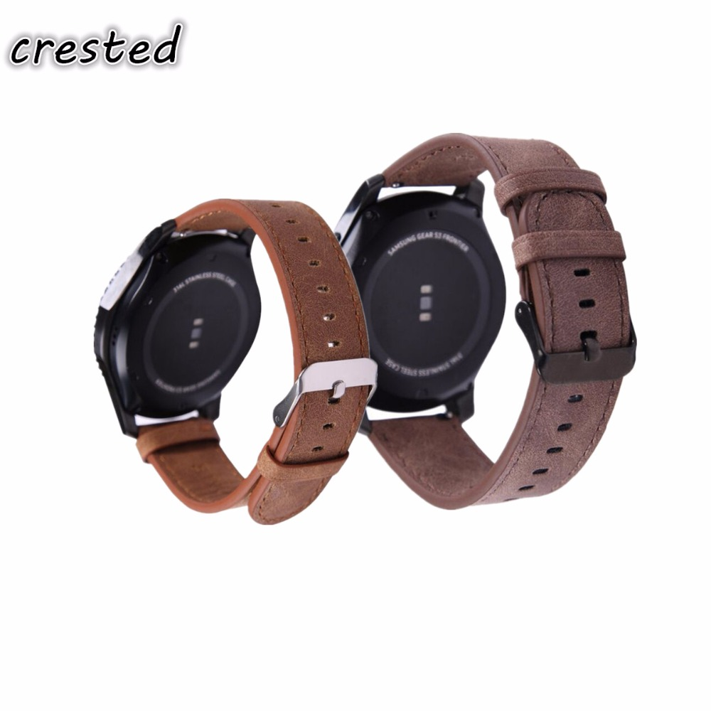 CRESTED Leather band for Samsung Gear S3 Frontier Strap Gear S3 Classic Retro style 22mm Watch strap & Link Bracelet Band crested genuine leather strap for samsung gear s3 watch band wrist bracelet leather watchband metal buck belt