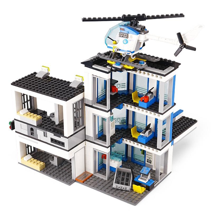 02020 City Police Station Building Blocks Bricks Helicopter Car Compatible with 60141 Bringuedos for children DIY