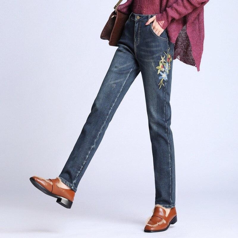 Free Shipping 2019 New Women s Winter Mid Waist Embroidery Velvet Straight Jeans Denim Blue Pants