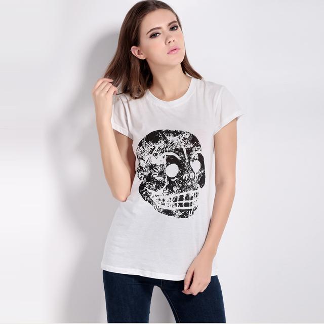 Halloween White Cotton Loose Skull Print T-shirt