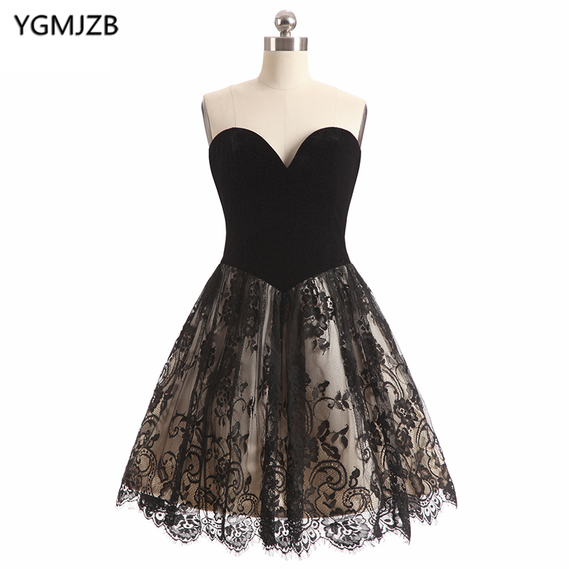 Short   Cocktail     Dresses   2019 New Fashion A Line Sweetheart Backless Red Black Short   Dress   Lace Party   Dress   Robe De   Cocktail