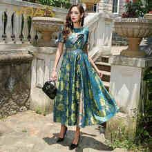 VOA 2017 Autumn Chinese Style Short Sleeve High Waist Silk Jacquard Print Slim Dresses Plus Size Women Maxi Dress ALX12201