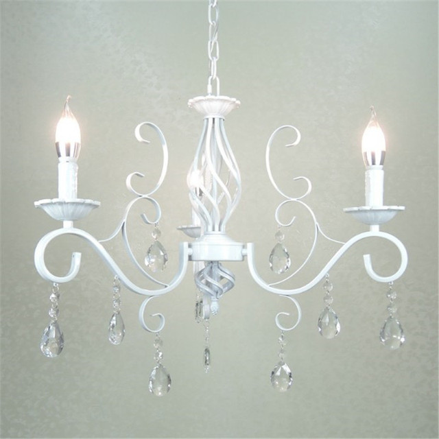 E14 Candle Lights Chandelier Vintage White Wrought Iron Crystal Dinning Table Pendant Lamp Lighting Fixture