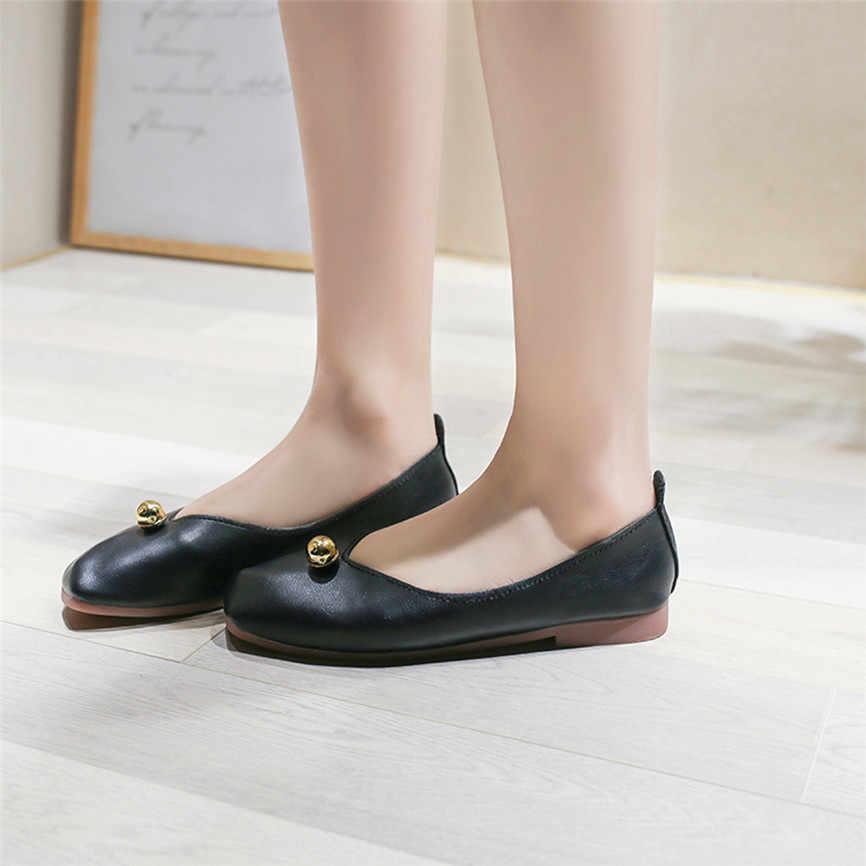 JAYCOSIN 2019 夏の靴のサンダル野生浅い口低トップフラットシューズ怠惰な四角いヘッドの単一のサンダル低かかとの靴 4