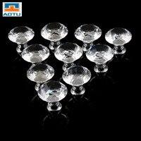 AOTU 1pack 10 Pcs 30mm Diamond Shape Crystal Glass Drawer Cabinet Knob Pull Handle Kitchen Door