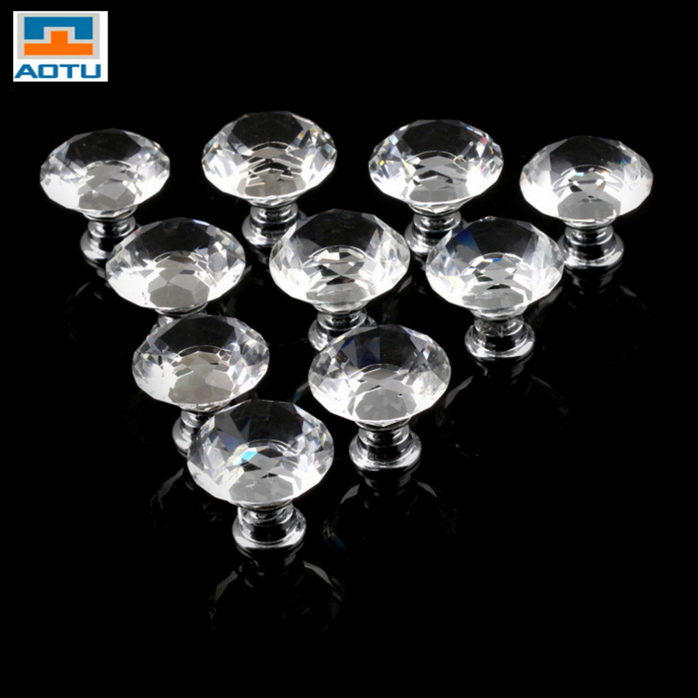 AOTU 1pack/10 Pcs 30mm Diamond Shape Crystal Glass Drawer Cabinet Knob Pull Handle Kitchen Door Wardrobe Hardware Furniture Hot hotsale pack of 10 30mm crystal glass clear cabinet knob drawer pull handle kitchen door wardrobe hardware
