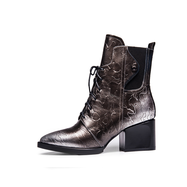 Retro Western Cowboy Boot Genuine Leather Chunky Heel Lace Up