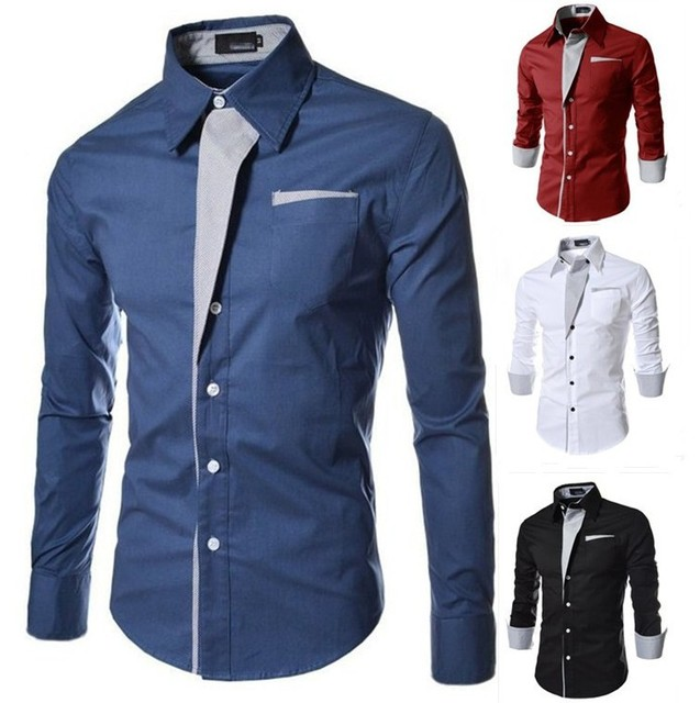 2015 Man Fashion Quality Long Sleeve Dress Shirt Male Slim Design ...