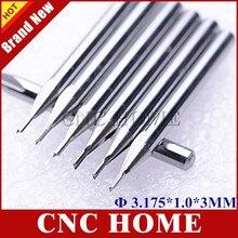 10 stuks 3.175*1.0*3MM 2 Straight Flute Frees, CNC Graveren Gereedschap, hout Router Bits, Carving Schuim, EVA, Multiplex, MDF, PVC