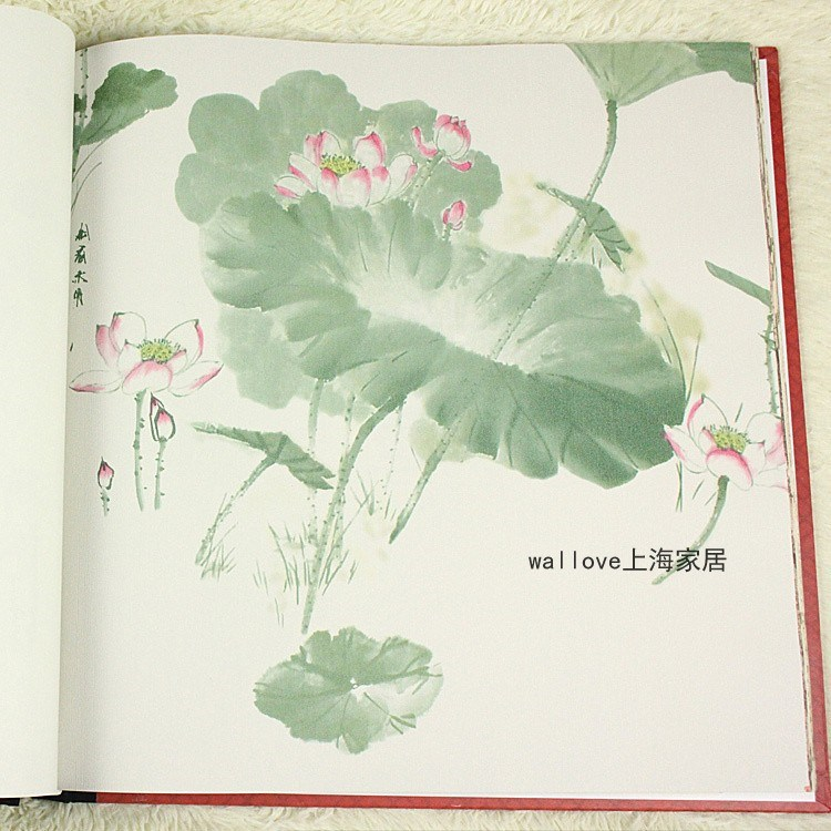 Classical Chinese restaurant wallpaper lotus leaf wallpaper ink style television pvc wall wallpaper