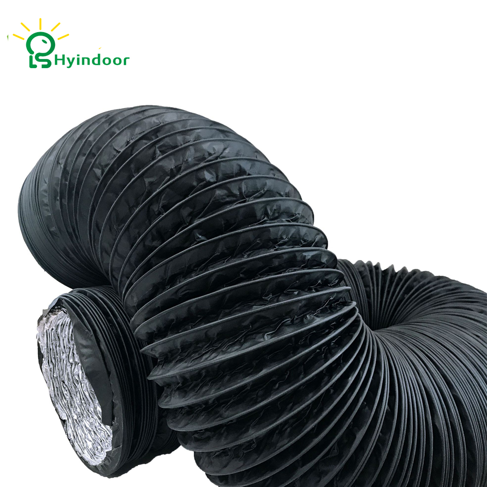 Hyindoor 6 Inch Air Duct 6.5FT (2M) Long, Black Flexible Ducting HVAC Ventilation Air Hose For Grow Tents, Dryer Rooms, Kitche