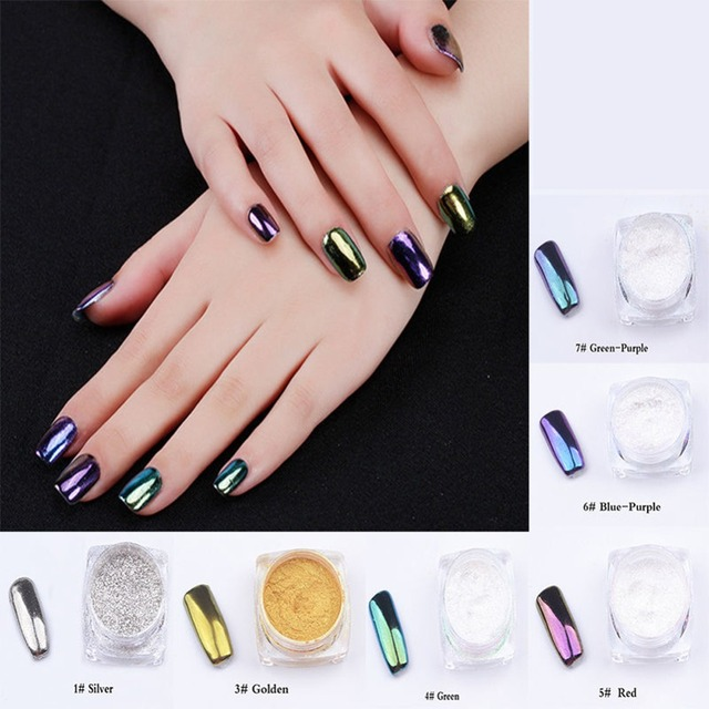 Nail Glitter Powder Mirror Chrome Effect Dust 6 Colors Glitter Shimmer Shinning Nails Beauty Polish Nail Art Decorations 1g/box