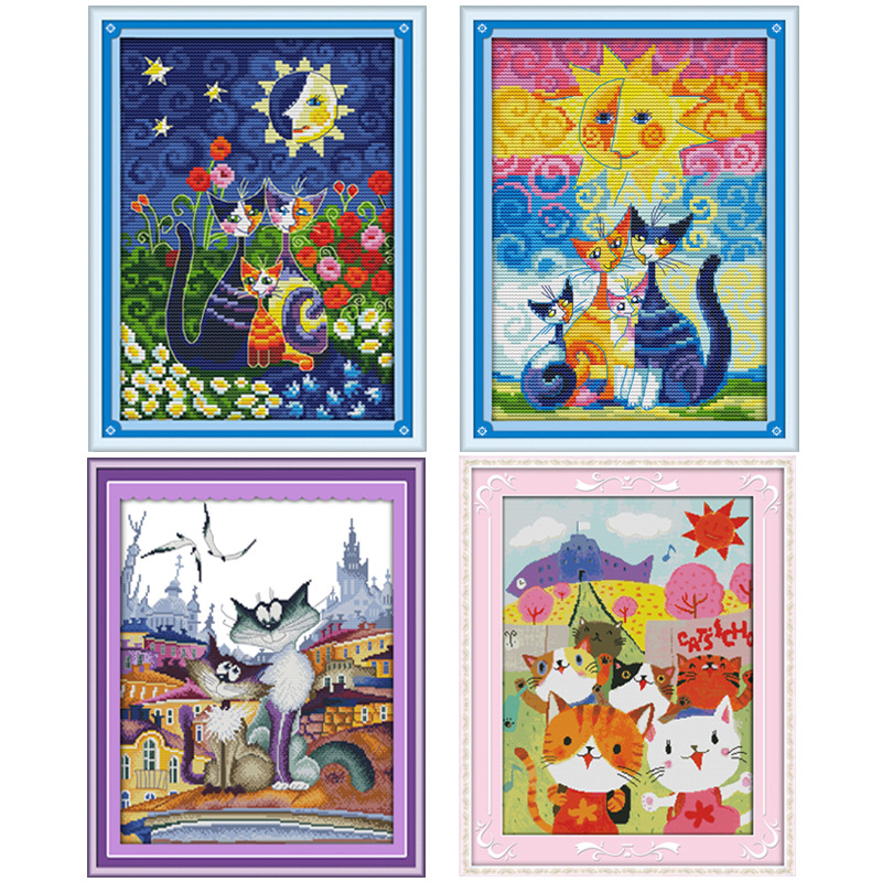 Cats and The Sun Counted Cross Stitch 11CT imprimé au point de croix 14CT cartoon Kit au point de croix broderie à la main pour travaux