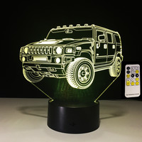 3D Lamp Remote Contol Touch SUV Car Kids Toy Child Birthday Gifts 7 Colors Change Lights