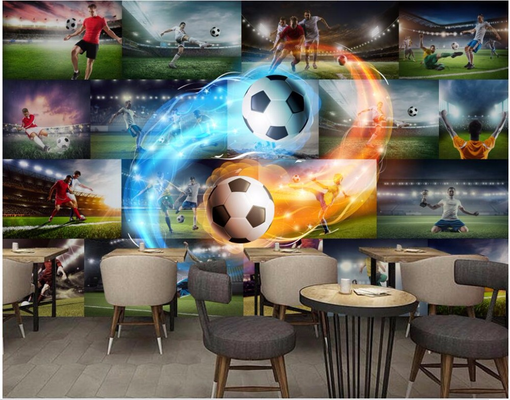 Custom mural 3d photo wallpaper The football star fire photo wall home decor 3d wall murals wallpaper for living room wall 3 d custom baby wallpaper snow white and the seven dwarfs bedroom for the children s room mural backdrop stereoscopic 3d