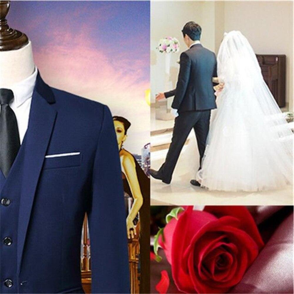Elegante traje gris para hombre traje de graduación esmoquin ajustado de 3 piezas (chaqueta + + Pantalones chaleco) novio trajes de boda para hombre Blazer personalizado - 4