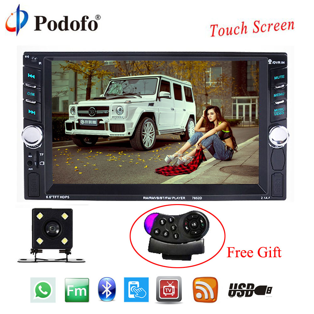 Podofo 2 Din Car Multimedia Player Car Auto Audio 6.6 Touch Screen Car Radio Bluetooth autoradio AUX-IN USB AUX FM With Camera