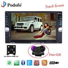 Podofo 2 Din Автомобильный мультимедийный плеер Авто Аудио 6,6 «Сенсорный экран автомобиля Радио Bluetooth Авторадио AUX-IN USB AUX FM С Камера