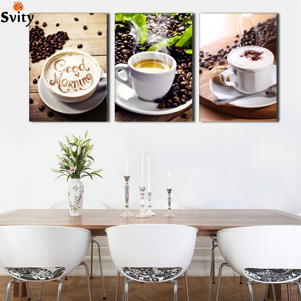 Set Of 3 Coffee Cup Canvas Wraps: Unframed 3 Panel Food And Cup Of Coffee Tea Modern Canvas