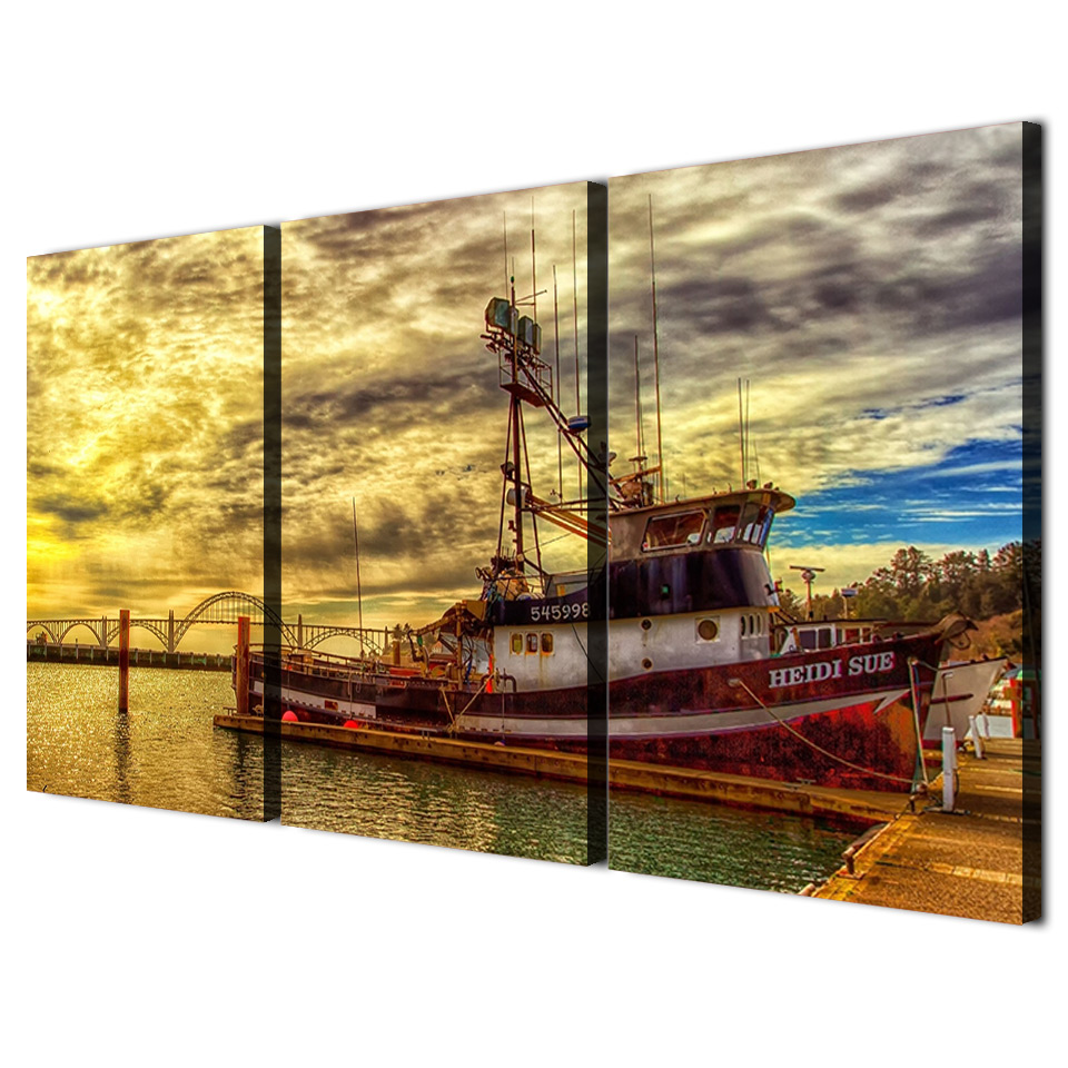 Canvas Wall Art Prints Paintings Home Decor Posters 3 Pieces Fishing ...