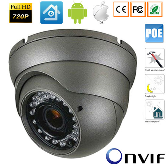 720P Network IR Bullet Securiy CCTV IP camera,3.6mm lens with ICR,30M IR,POE Camera
