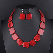 2019 Color Resin Geometric Necklaces & Pendants Jewelry Sets For Women Crystal Statement Fashion Necklace Earrings Sets