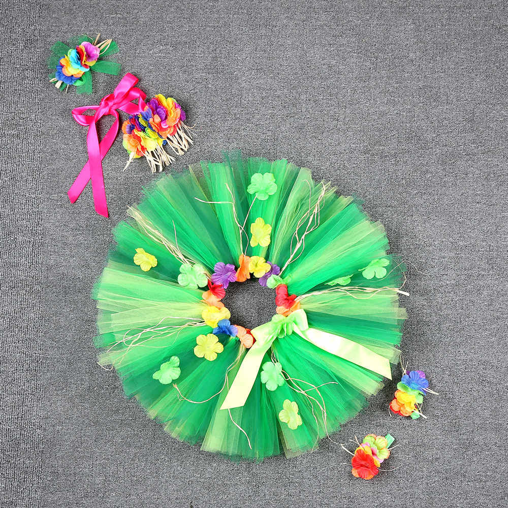 Гавайская зеленая Тюлевая юбка с бахромой и цветами плотная мини-юбка для девочек, вечерние юбки принцессы с кисточками Детские костюмы для фотографии