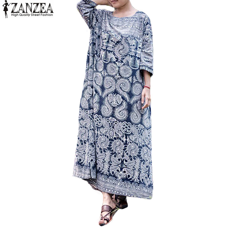 Tops blusas 2017 zanzea mujeres retro floral print dress elegante femenina túnic