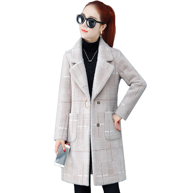 Haute qualité hiver veste manteaux nouvelle mode épaissir Imitation vison polaire laine manteau lâche grande taille moyen long survêtement 95