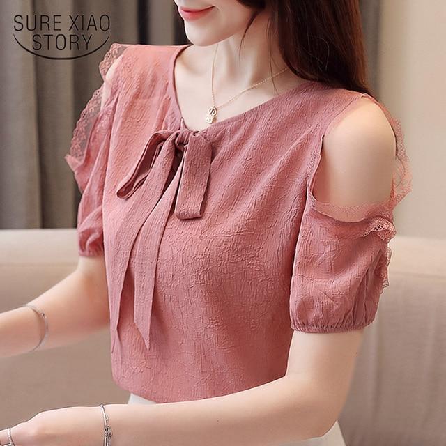 Blusa de chifón de manga corta para verano, Camisa de gasa para mujer, 2019