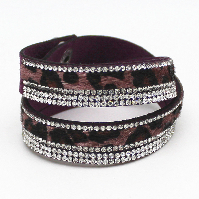 New Arrived Sexy Leopard Bling Rhinestone Double Wrap Bracelet For Women Leather Wrap Bracelet Wristband Crystal Charms Chokers 9