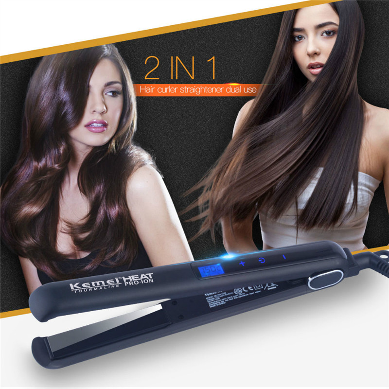 KEMEI Flat Iron Hair Straightener Ceramic LED Digital Touch Screen Hair Curler Curling Iron Professional Straightener Irons1718 titanium plates hair straightener lcd display straightening iron mch fast heating curling iron flat iron salon styling tools